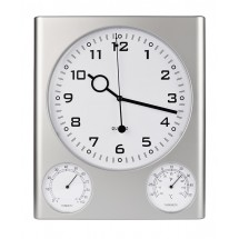 Wall clock with hygrometer and thermometer