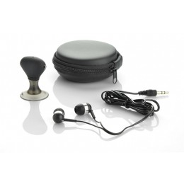 Traveling set: earphones and earphone splitter black