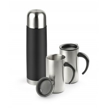 Vacuum flask 500 ml and 2 travel mugs 280 ml