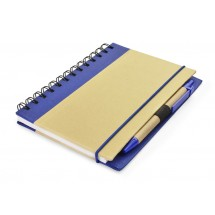 Notebook with pen blue