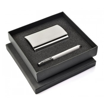 Gift set white – touch pen, business card holder
