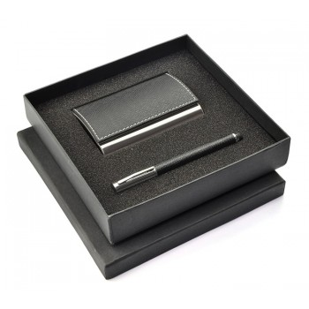 Gift set black – touch pen, business card holder