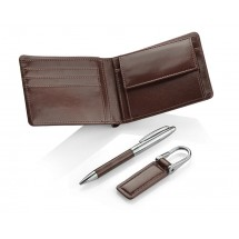 Gift set - wallet, keychain, ball pen brown