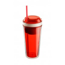 Mug with snack compartment SNACK 480 ml + 230 ml red