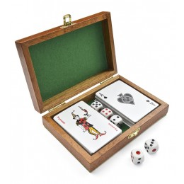 Playing cards in wooden box