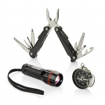Gift set TRAVELER - flashlight, multitool and compass