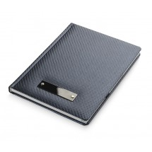 Notebook with metal plate CARBON