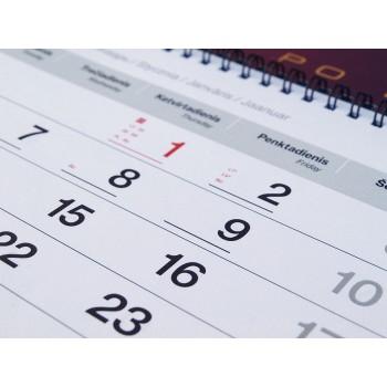 3 mėn sieninis kalendorius su reklaminiai intarpais